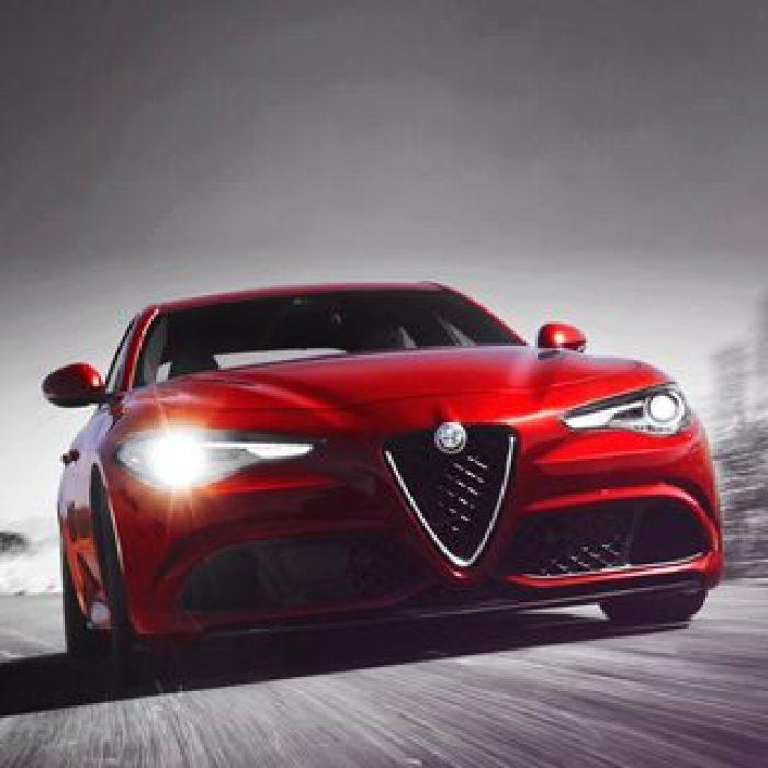 Imagen continua del extremo delanterodel Alfa Romeo Giulia Quadrifoglio 2019