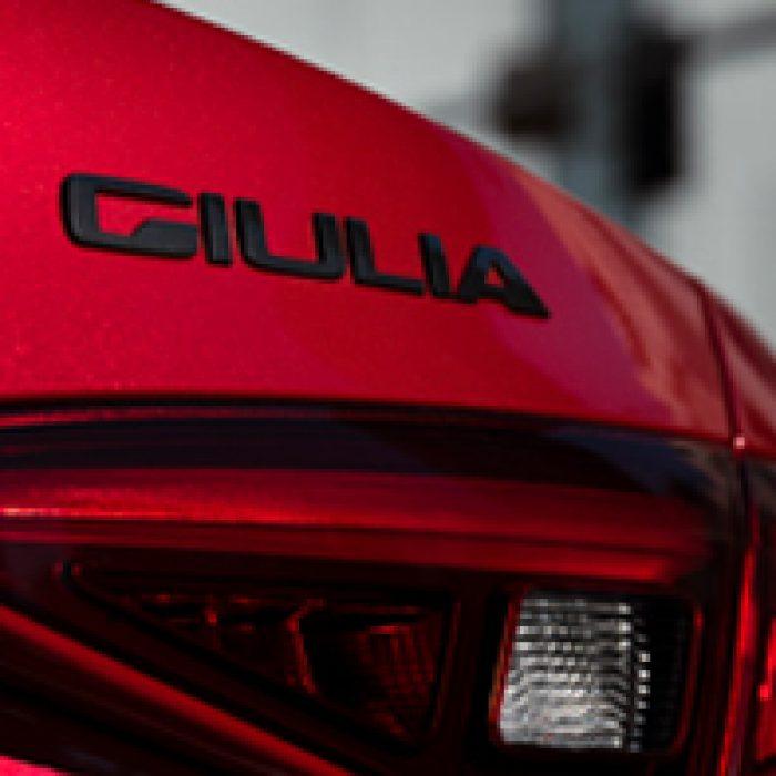 Emblema trasero del Alfa Romeo Giulia 2018